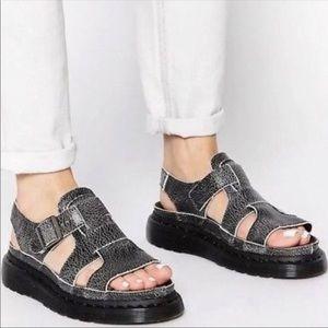 Doc Dr Martens 7 Asha Leather Sandals Black Gray